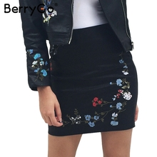 Buy BerryGo Embroidery pu leather pencil skirt women Fashion zipper pocket short skirt Autumn 2017 elegant streetwear mini skirt for $14.99 in AliExpress store