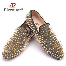 New Handmade Long Gold Rivet Men Red Bottom Loafers Gentleman Luxury Fashion Stress Shoes Men Wedding and Party Slip on Flats(China (Mainland))