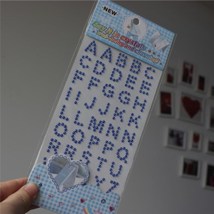 2015 New Car Sticker Nivel Laser Crafts Scrapbooking Stickers Self Adhesive Kids Toys Blue Rhinestone Letters Sticker 3 Pcs/lot(China (Mainland))