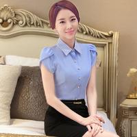 2016 NewFashion women Female Chiffon blouses/shirt casual Ladies short sleeve Slim clothing work business wear LZ1615