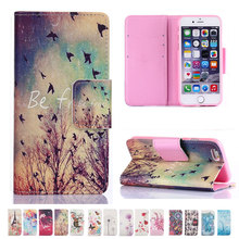 For iphone 5 5s SE 6 6S flower tower Elephant Wallet Flip PU Leather Case for Apple iPhone 7 plus Card Slot Stand Cover cases(China (Mainland))