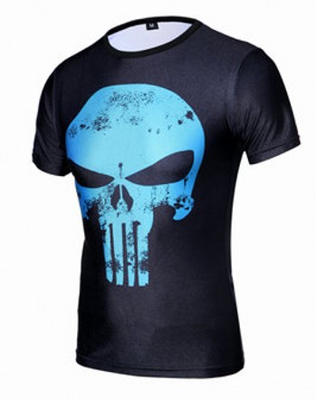 Men sports compressed t-shirts men's skull punisher fitness t shirt gym clothes men compression tights shirt esporte camisetas(China (Mainland))
