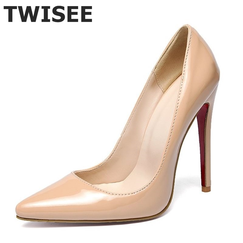 5 Colors Big Size Women Pumps Sexy Red Bottom Pointed Toe High Heels Shoes Woman 2016 Brand New Design Wedding Party Shoes(China (Mainland))