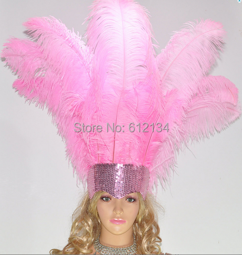 Free shipping Cheap ostrich feather 100pcs 1-20inches 45-50cm pink Ostrich plumage ostrich plume(China (Mainland))