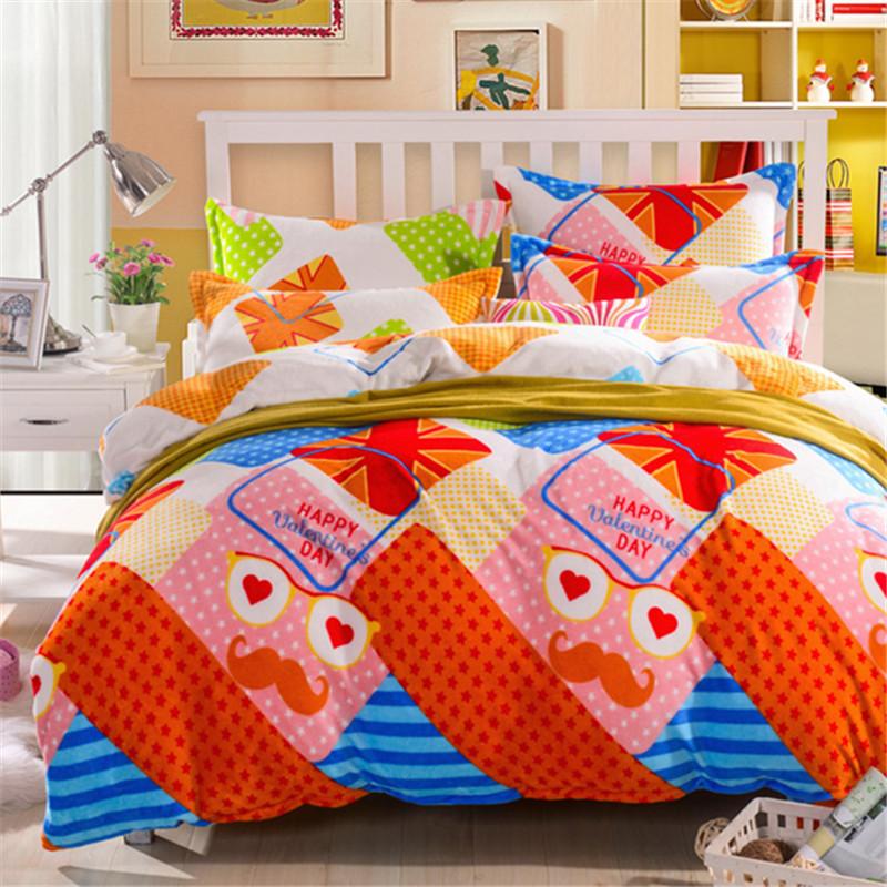 Teen bedding set warm fannel velvet bed sets winter