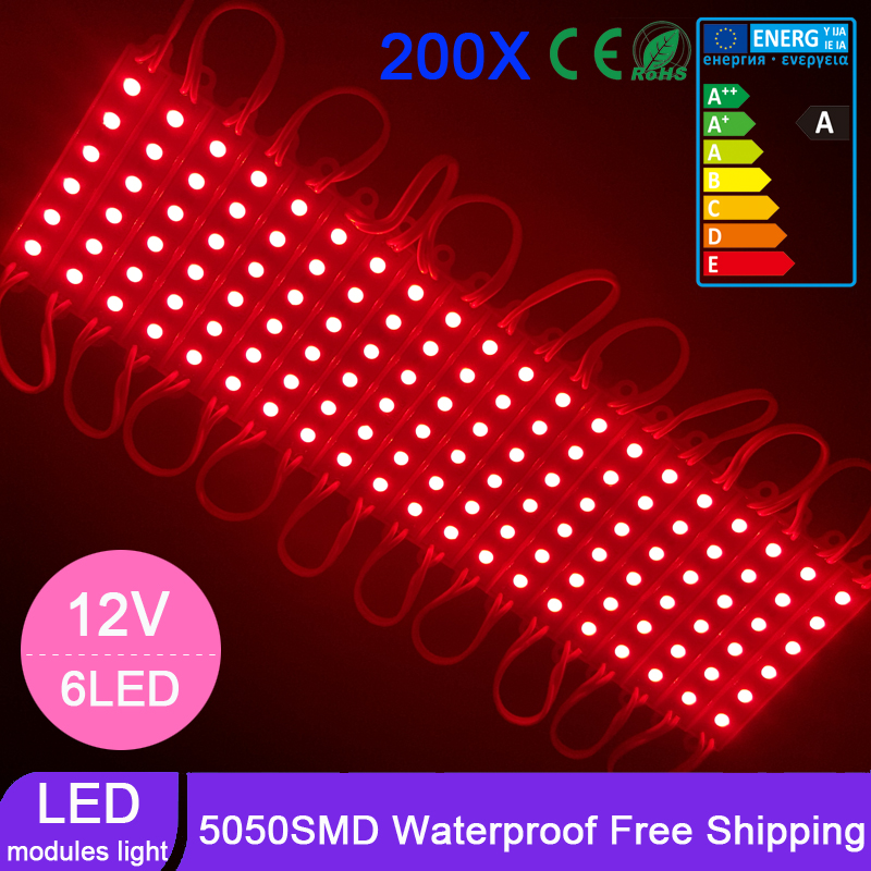 200pcs/lot Super Brightness 5050 SMD LED Module DC12V 6leds Light Lamp Waterproof IP65 DC12V For Advertising Decorative Lights<br><br>Aliexpress