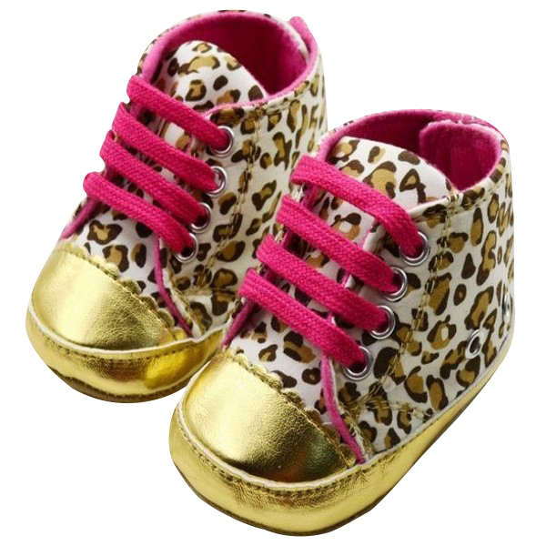 Cute Baby Girl Infant Toddler Leopard Gold Crib Shoes Sneaker Baby Shoes First Walker