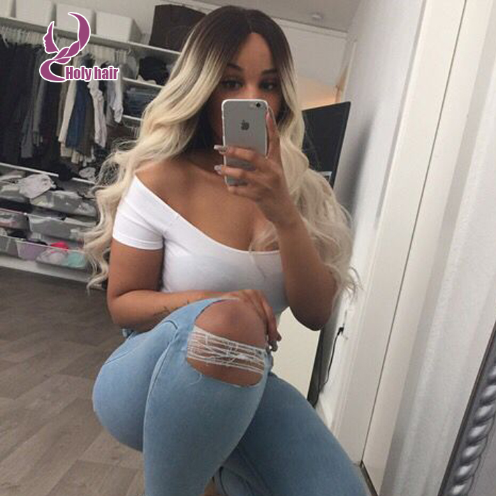 Dark roots blonde body wavy wig lace front brazilian virgin hair middle part ombre blonde full lace wig 130% density human hair(China (Mainland))