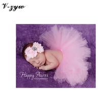 Baby Ball Gown Kids Photography Props Newborn Baby Girl headband and tutu Skirt Sets Birthday Fluffy infantil para meninas AD011(China (Mainland))
