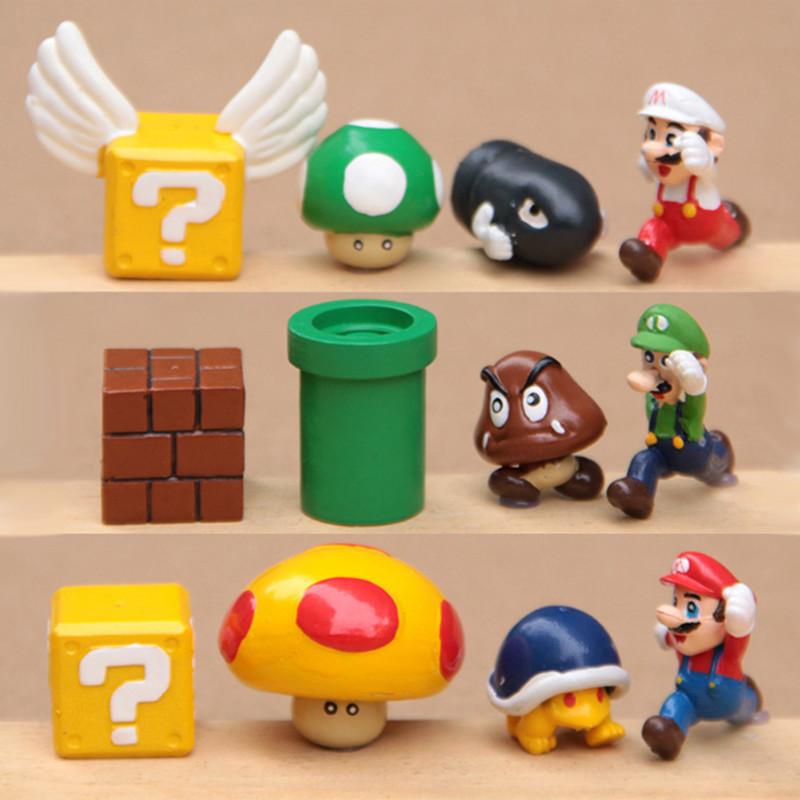 Wholesale Super mario bros 12pcs/set  2-3cm mini mario Luigi yoshi dinosaur mushroom Figure toy PVC action figure