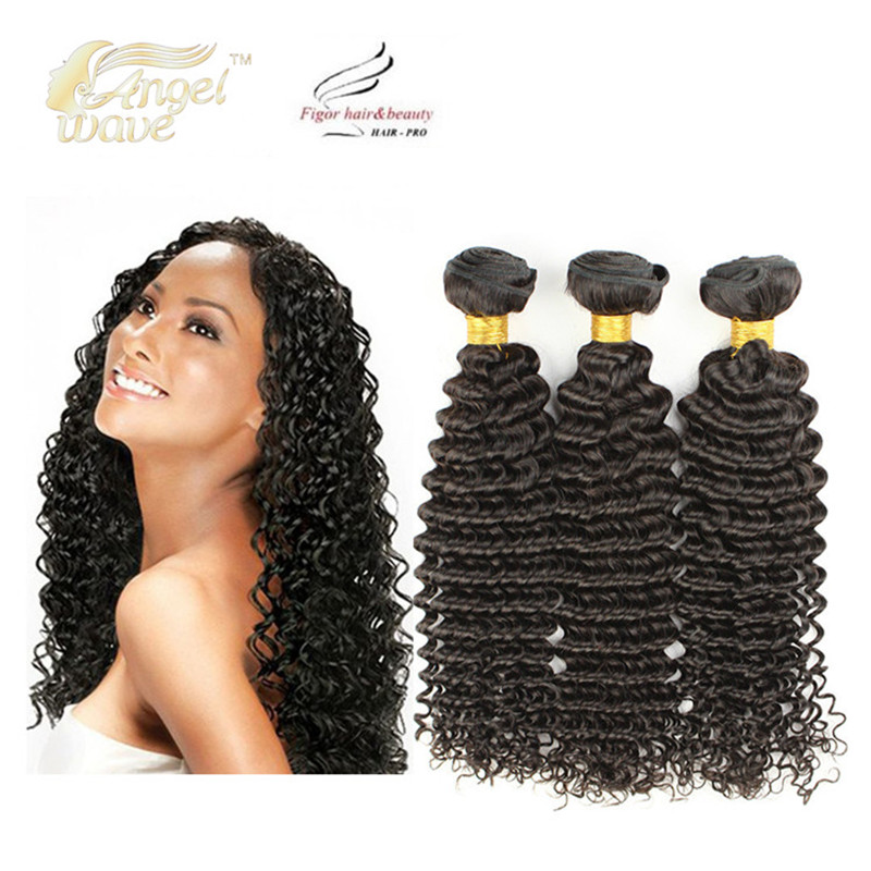 Angelwave Hair products 8a deep wave malaysian hair 3 bundles free shipping 100% natural human hair deep wave curl good quality(China (Mainland))