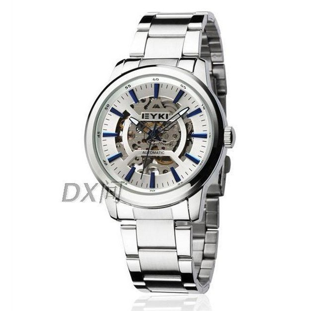 2012 newest skeleton mechanical watch steel strip,3 styles,free shipping