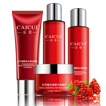 Red Pomegranate Face Care Kit For Moisturizing Firming Skin Whitening Face Clean Cosmetics Facial Cream Kit(China (Mainland))