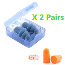 2 Pair Soft Earplugs Sound Insulation Ear Protection Soundproof Anti-Noise Sleeping Plugs Travel Earplug Foam Noise Reduction