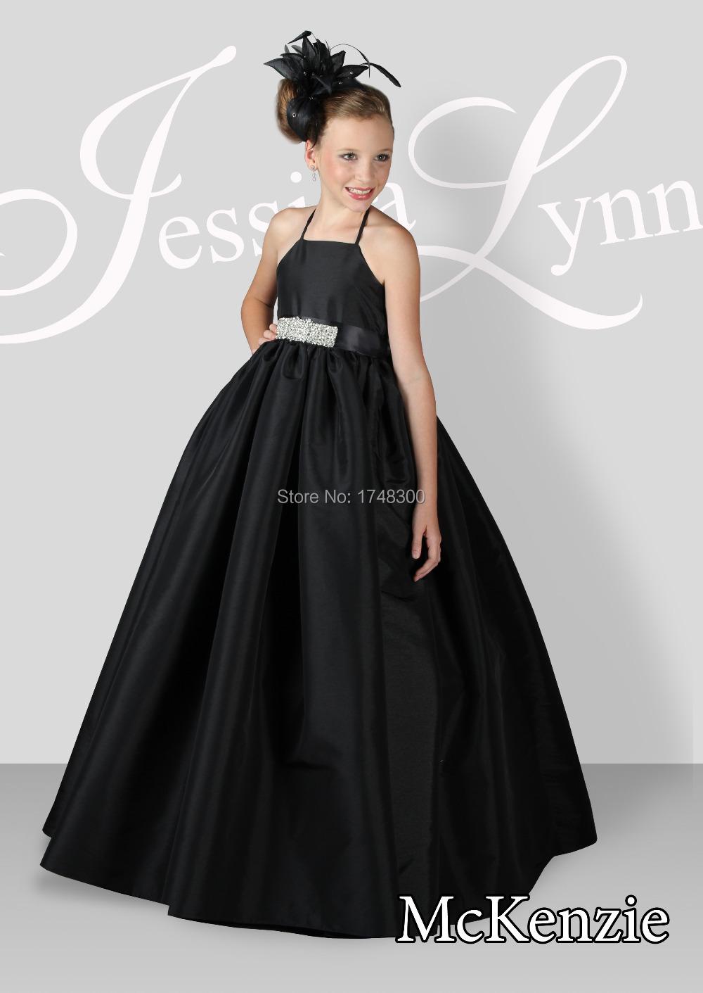Black dress yellow sash - Formal Black Satin Halter A Line Long Flower Girl Dresses Beading Sash Floor Length Sleeveless Girl S