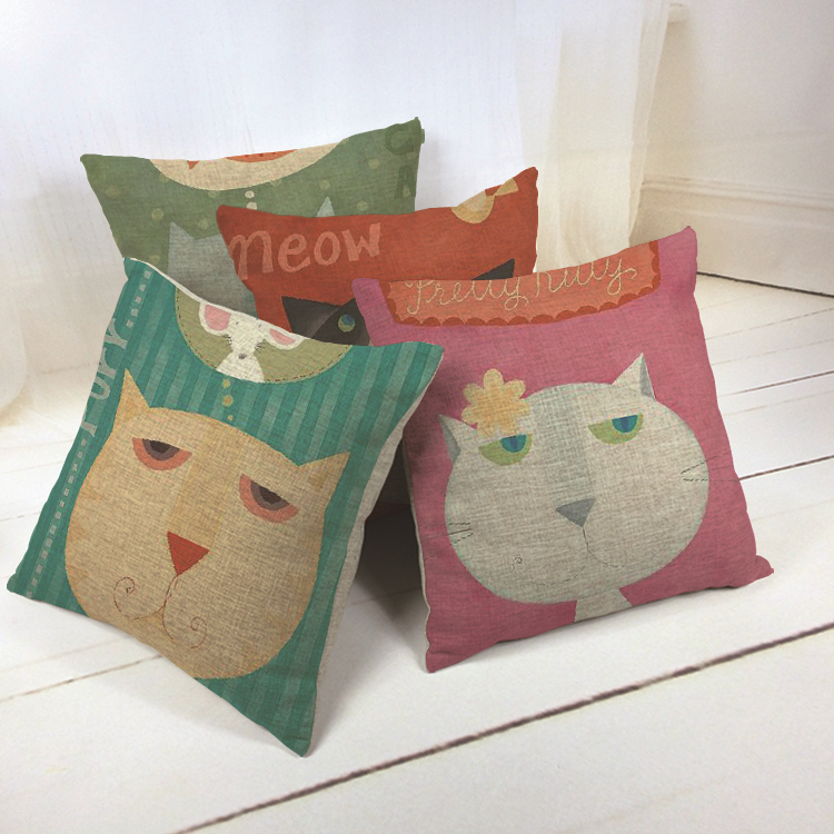 New Hot Nordic Chair Pillow Personality Creative Handsome Nap pillow Cover Cute seat cushion Cat Green Pink Red meow(China (Mainland))
