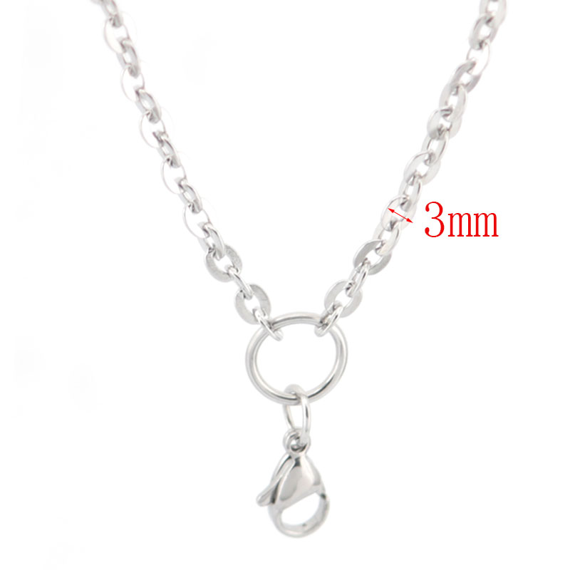 10pcs 3 mm Width 24'' Silver Stainless Steel flat oval Necklace Chain For memory living Glass Locket & oil Diffuser Locket(China (Mainland))