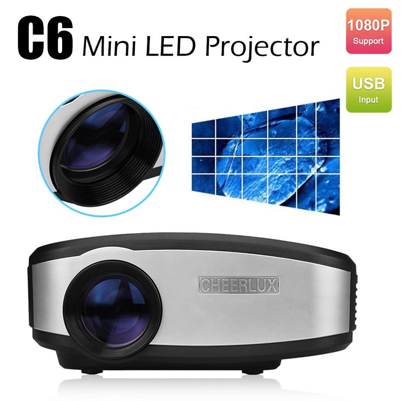 Mini LED LCD Projector HD Home Theater Digital TV Beamer 1080P Pocket Projectors Supports HDMI VGA USB TV Video CHEERLUX C6(China (Mainland))