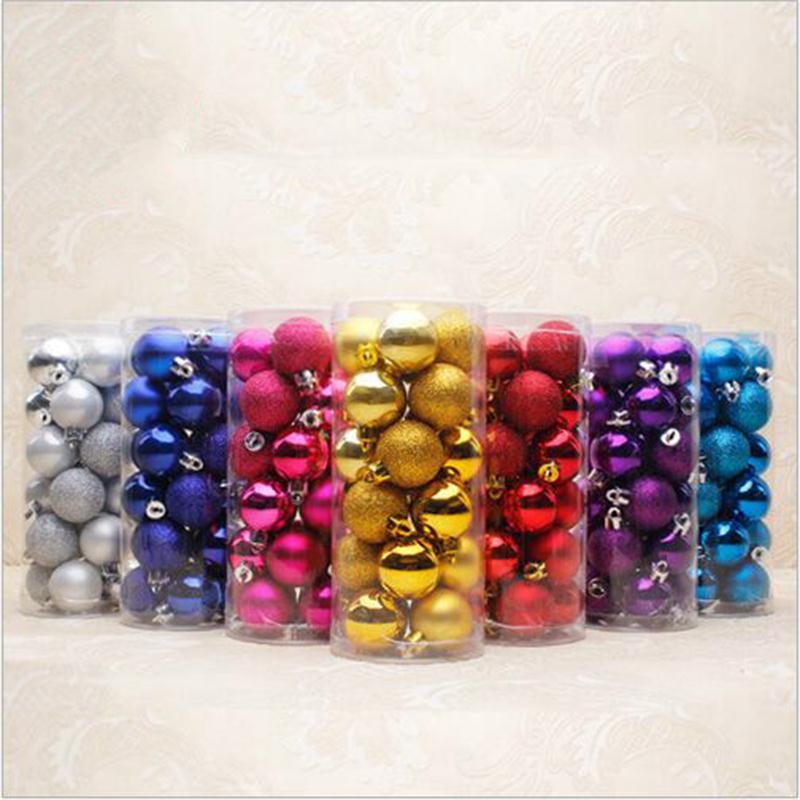 24pcs/Lot 6CM Christmas Xmas Tree Hanging Colorful Balls Party Decoration Baubles Ornaments Wedding Festival Decor Balls 7Colors(China (Mainland))
