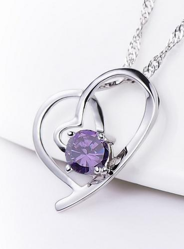 Platinum Plated Blue Heart Crystal Pendant , Mutual affinity necklace Well Cutted Women Gift - Fashion jewelry family store