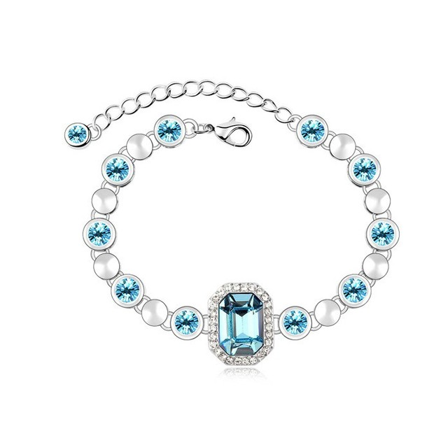 NICETER Big Discount Austrian Crystal Bracelets Bnagles 2014 Elegant Special Offer Bangles N8080 Blue Crystal Jewelry Christmas