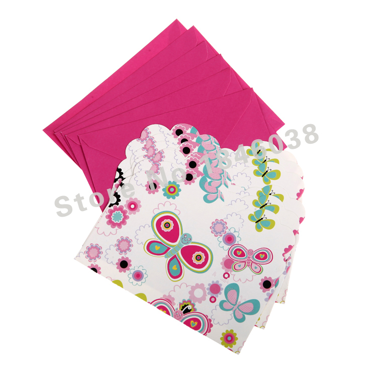 6pcs/pack Envelop Shape Butterflies Fluttering Theme Party Invitation Card Children Girl Birthday/Festival Party Card Supplies(China (Mainland))