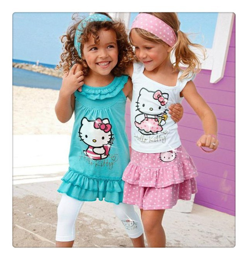 2015 New 2-8 Year Baby Girls Hello Kitty Skirt Suits Kids Headband+Dress+Pants Cotton Clothing 3pcs Sets Free Shipping(China (Mainland))