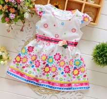 Kids Princess Dress Lovely Baby Girls Sunflower Dress girls baby floral dresses(China)