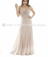 Sparkly Halter Prom Dress 2016 Champagne Tulle Backless Rhinestones Beaded Sequin Long Women Prom Dresses Party Dresses PD169