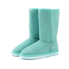 HABUCKN bottes de neige haute pour femmes chaussures d'hiver en peau de mouton cuir fourrure doublé grandes filles haute laine cuisse bottes d'hiver noir(China)