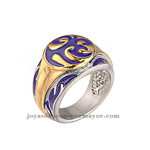 purple and gold stainless steel cheap promise rings in