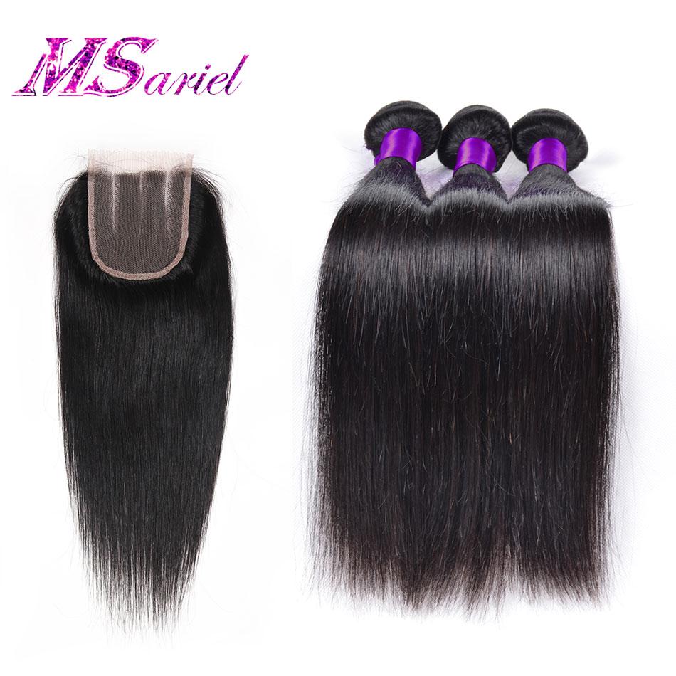 Straight Malaysian Virgin Hair With Closure 7a Malaysian Bundles With Closure Virgin Human Hair With Closure Tissage Closure<br><br>Aliexpress