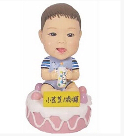 Boy girl kids first 1st 2nd 3rd 4th 16th birthday party decoration favor gift Personalized real kids cake topper Figurines dolls(China (Mainland))