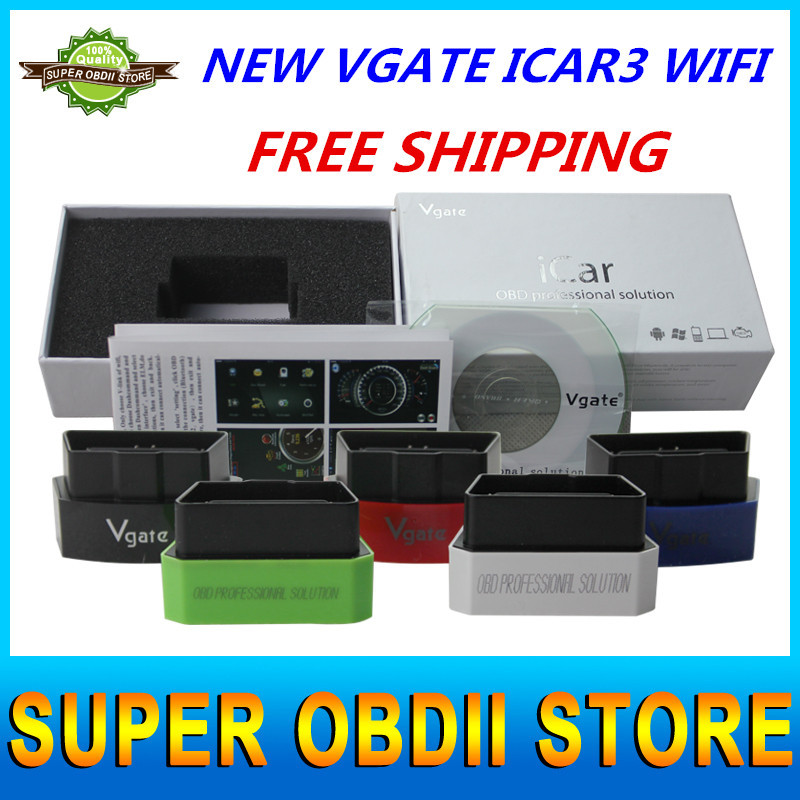 2015 Latest and Best ELM327 Vgate iCar3 WiFi OBD2 II Protocols Code Reader & Scanner Diagnostic Tool For Android/IOS/PC(China (Mainland))