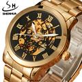 SHENHUA Gold watches men skeleton mechanical wrist watches Men Full Steel Automatic Mechanical Watch Men Gifts