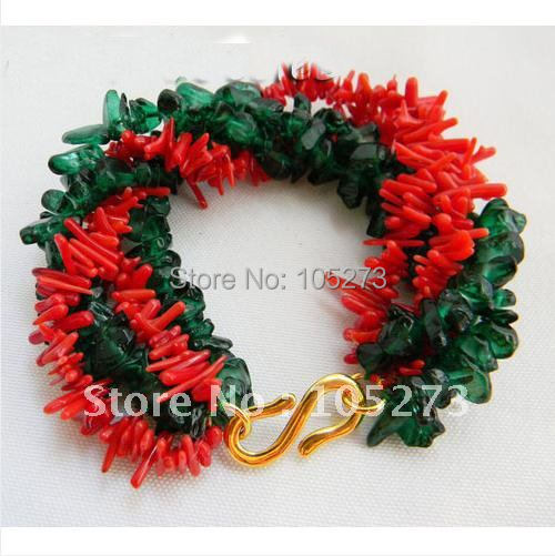 New Arrive Chirstmas Jewelry ! Stunning 5Rows 8inch Branch Coral Green Glass Bracelet AA 4-6MM Baroque Shaper free Shipping<br><br>Aliexpress