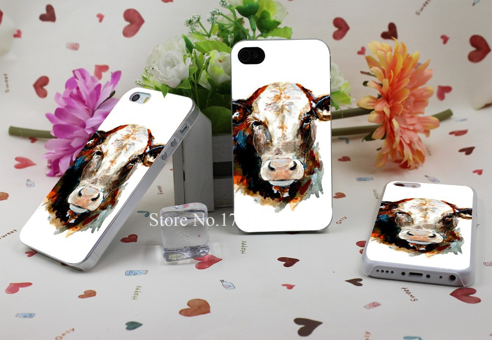 cow watercolor Hard Plastic Clear Back Transparent Style Case Cover for iPhone 4 4s 5 5s 5c 6 6s 6 plus s