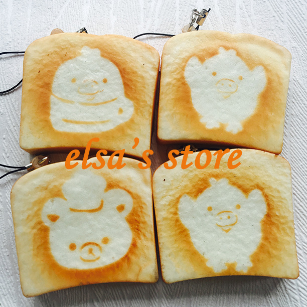 squishies wholesale 40pcs squishy lot KAWAII rilakkuma squishy toast toy charm strap pendant for mobile phone Free Shipping(China (Mainland))