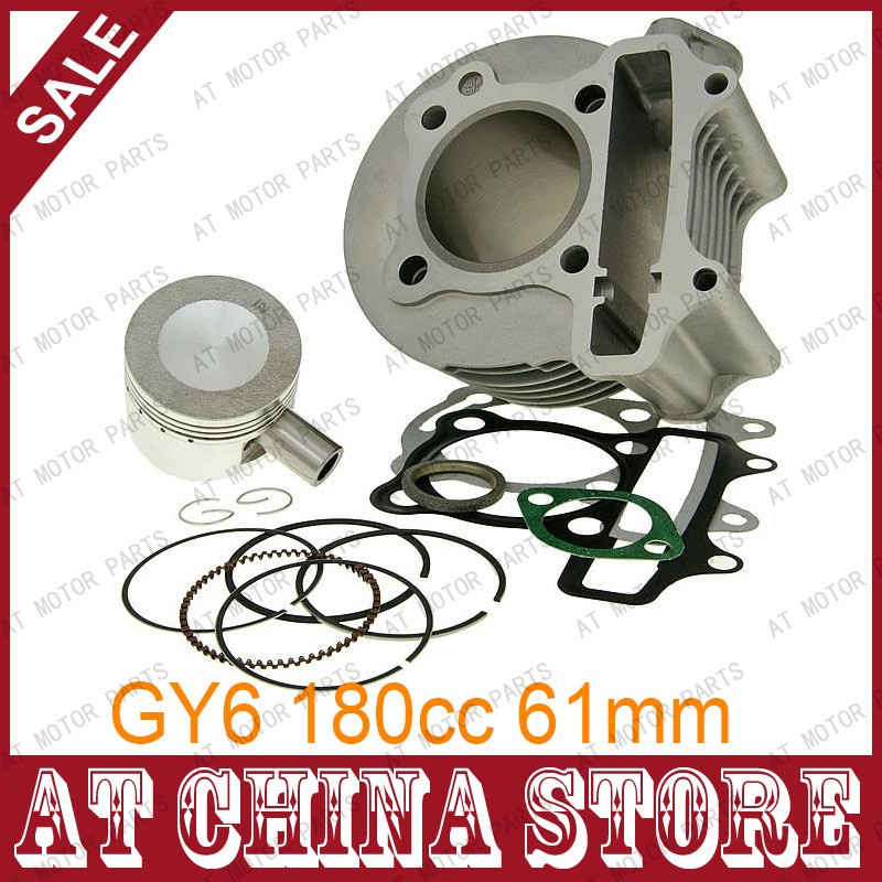 GY6 180cc Chinese Scooter Engine 61mm Big Bore Cylinder kit with Piston Kit for 4T 157QMJ