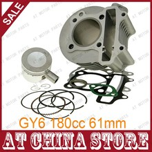 GY6 180cc Chinese Scooter Engine 61mm Big Bore Cylinder kit with Piston Kit for 4T 157QMJ JONWAY ZNEN Roketa ATV Go Kart Moped