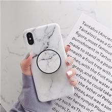 Beyour Marmer Fleksibel Stand Pemegang Case untuk iPhone X XS Max X 8 7 6S Plus untuk Huawei P20 untuk Samsung S10 Lembut IMD Phone Cover(China)