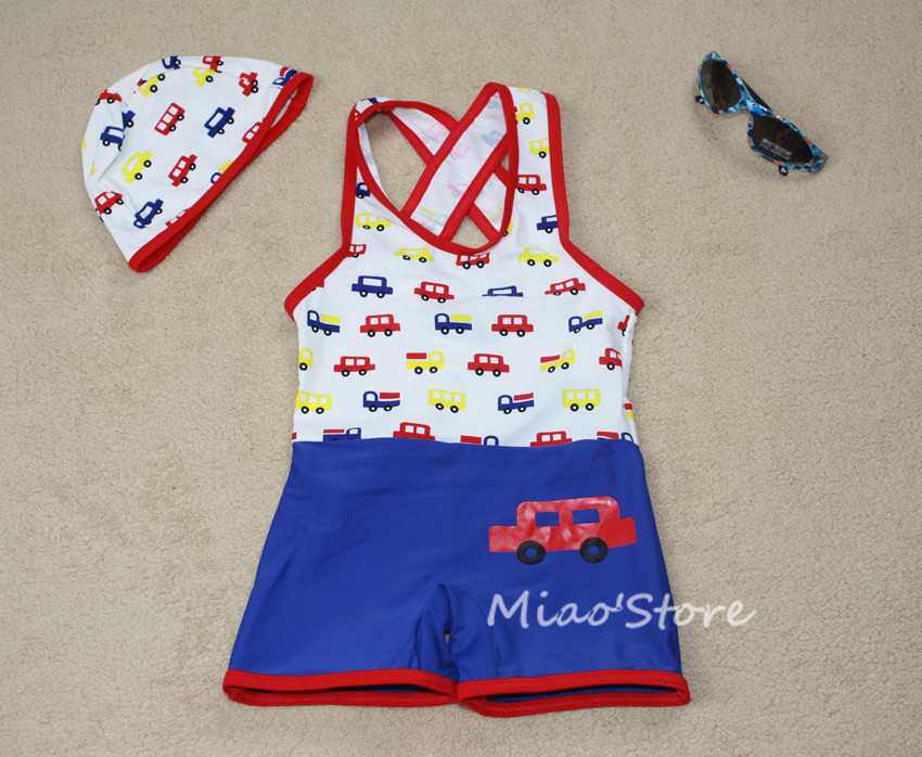 Child hot spring swimwear male child baby one piece car vest pants