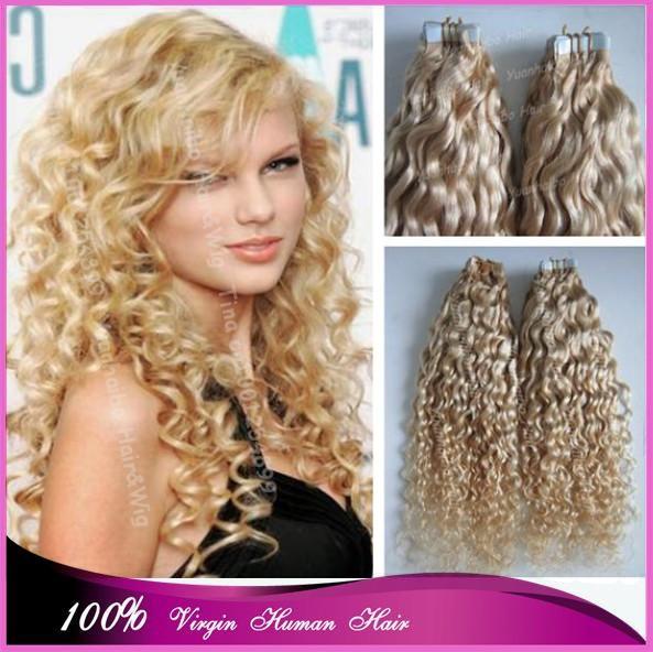 Фотография New Fashion 7A! #613 kinky curly virgin peruvian blonde remy hair tape hair extensions, 300gram, free shipping