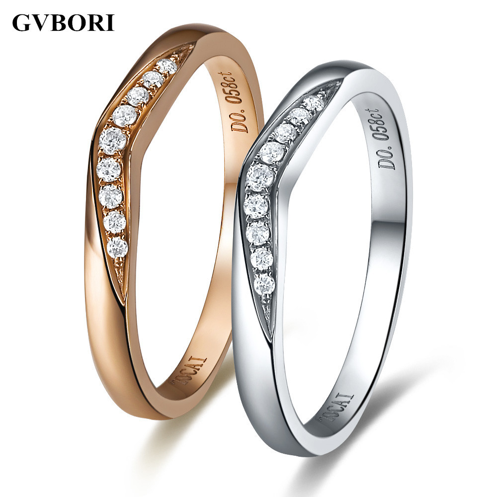 GVBORI Love For Man/Woman Engagement 18K Natural White Or Rose Gold Diamond Ring Fine Jewelry Gift Couple Ring  Free Shipping<br><br>Aliexpress