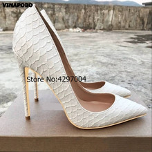 Sexy High Heel Shoes White Snake Print Leather Stilettos Shoes For Women Pointed Toe Slip-on Leather Dress Pumps wedding Shoes(China)