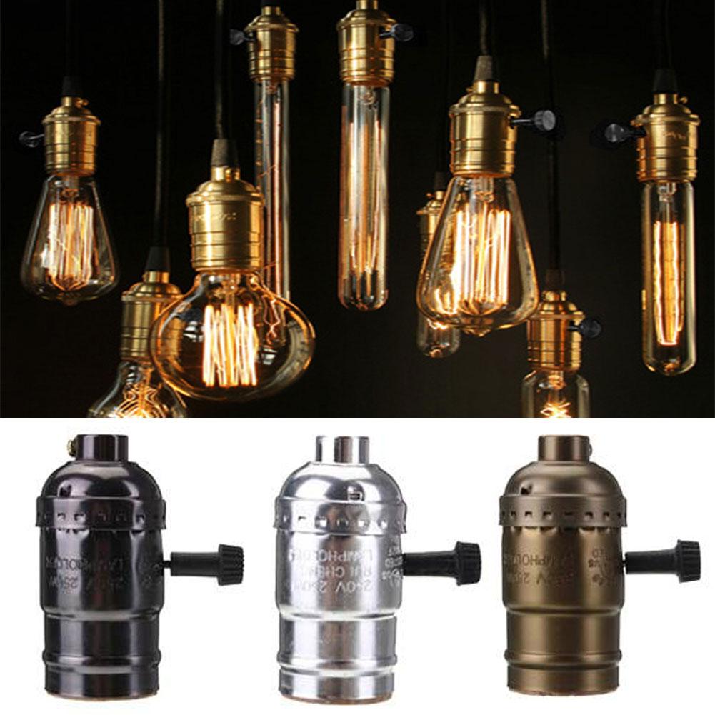 E27 Edison Retro Pendant Lamp Holder Bulb Socket Screw with Switch 110-220V(China (Mainland))