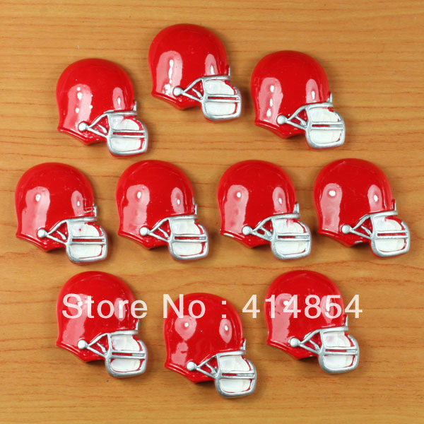 Wholesale 50 pcs American Football Red Helmet Resin Cabochons Flatbacks Scrapbooking Girl Hair Bow Card Frame Making Crafts DIY(China (Mainland))
