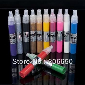 12 Colors UV Gel Acrylic Design 3D Paint Nail Art Pen Polish Wholesale Free Shipping
