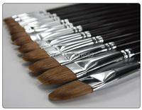6PCS Transon102 black wooden handle filbert brush, weasel hair artist brush set, oil painting brush