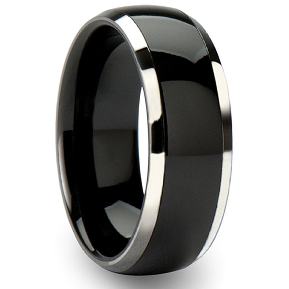 8mm black titanium ring mens engagement wedding band two for Wedding ring black titanium